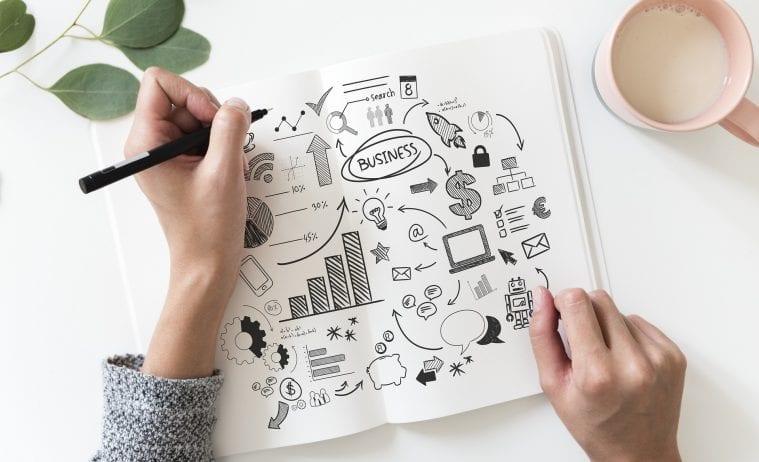 biznis plan napad kreovanie kreative draft kresba nacrt papier pero